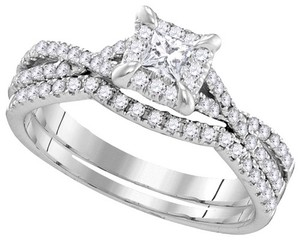 Luxury Designer 14k White Gold 0.61 Cttw Diamond Engagement Ring Bridal Set
