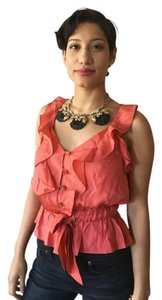 Leifsdottir Silk Peplum Top orange, coral