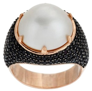 Bronzo Italia Bronzo Italia Cultured White Mabe' Pearl and 1.35 cttw Black Spinel Ring - Size 7