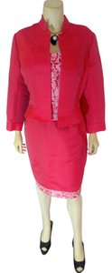 Kay Unger Kay Unger 3 Pc Suit Size 14 Pink Corset Top Skirt Jacket P2100