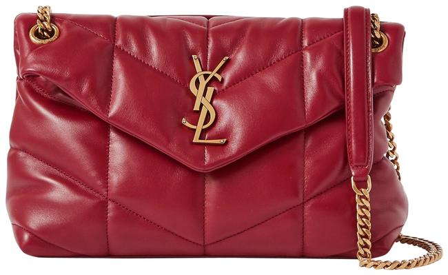 Item - Monogram Loulou Ysl Puffer Small In Quilted Red Rouge Opium Lambskin Leather Shoulder Bag