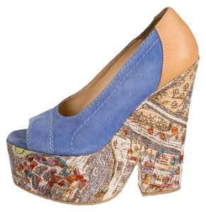 Carven Platform Pumps Wedge Blue Wedges