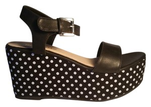Restricted Dot Black with White Polka Dots Platforms