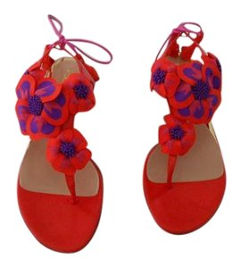 Sebastian Milano Color Sophisticated Design Flower Accented Made In Italy Red Sandals