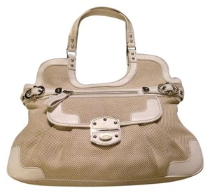 Rafe Tote in White Leather and Tan