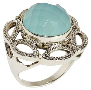 Nicky Butler Nicky Butler Checkerboard Aqua Chalcedony (14mm) Sterling Silver Ring - Size 10