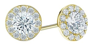 LoveBrightJewelry Cubic Zirconia Halo Stud Earrings in 18K Yellow Gold over Sterling Silver 1 CT TGW