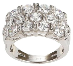 Diamonique Epiphany Platinum Clad Diamonique 3.40 cttw 3-Row Band Ring - Size 7