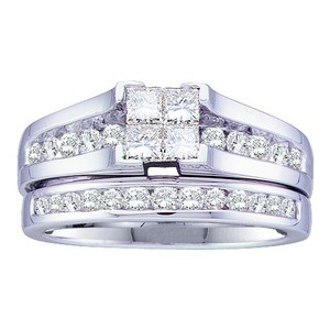 Luxury Designer 14k White Gold 1.00 Cttw Invisible Diamond Engagement Ring Bridal Set