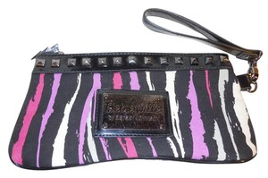 Betseyville Cotton Canvas Studded black, pink, purple & white print Clutch