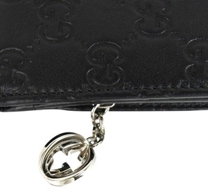 Gucci Leather Wallet W/gg Charm Coin 233022 Black Clutch