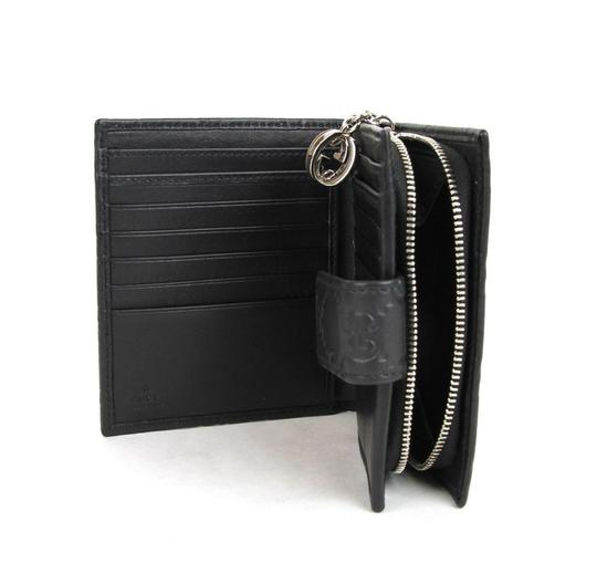 Gucci Guccissima Leather Wallet W/Gg Charm Coin 233022 Black Clutch