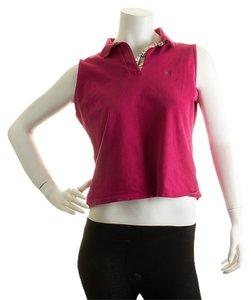 Burberry Women's Cotton Knot Polo Top Magenta