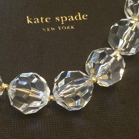 Kate Spade Brand New with Tags Kate Spade 12K Gold Plated Clear Bead Necklace w/ Famous Bourgeois Bow