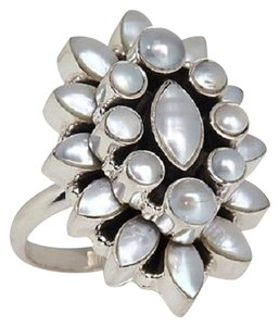 Himalayan Gems Himalayan Gems Marquise and Round Cultured Freshwater Pearl Cluster Sterling Silver Ring - Size 7