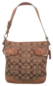 Coach Leather Canvas Signature/logo Hobo Bag