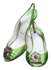 Christian Louboutin Green Satin Sandals