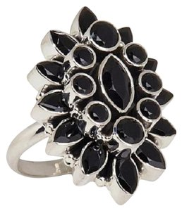Himalayan Gems Himalayan Gems Marquise and Round Black Spinel Cluster Sterling Silver Ring - Size 8