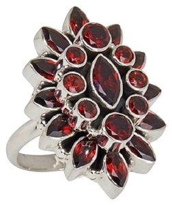 Himalayan Gems Himalayan Gems Marquise and Round Garnet Cluster Sterling Silver Ring - Size 7