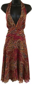 Ice Halter 100% Silk Paisley Fit And Flare Fuchsia Dress