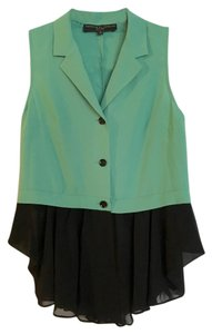 Twinkle by Wenlan Peplum Sleeveless Button Down Unworn Top green, black
