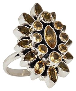 Himalayan Gems Himalayan Gems Marquise and Round Citrine Cluster Sterling Silver Ring - Size 8