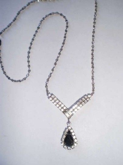 Other BLACK TEARDROP & CRYSTALS NECKLACE