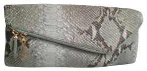 Henri Bendel Leather Snakeskin Handbag Python Blue Gray Clutch