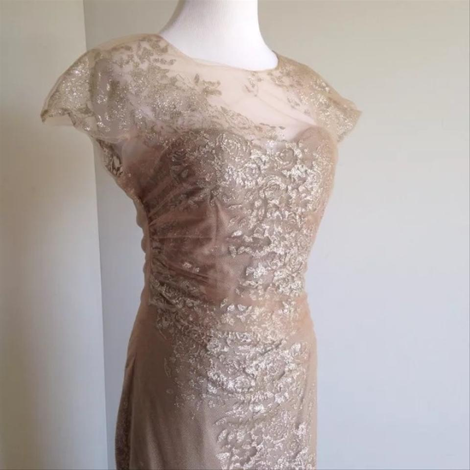 Rene Ruiz Gold Sequined Organza Gown. Long Formal Dress Size 4 (S ...