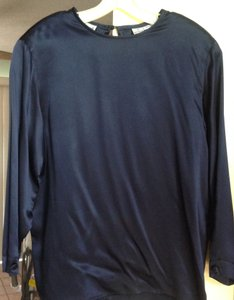 Anne Klein Silk Blue Long Sleeve Size 12 Top Navy