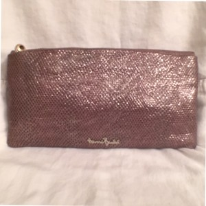 Henri Bendel Leather Snakeskin Evening Silver Pink Clutch