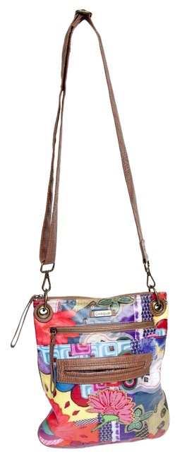 Item - Patchwork Multi Colored Poly Blend Cross Body Bag