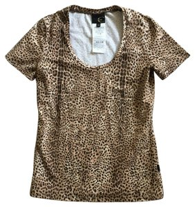 Just Cavalli Cavali T-shirt Stretchy Top brown and beige animal print