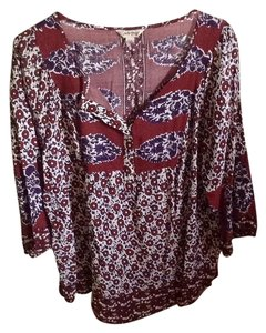 Lucky Brand Top Maroon and blue