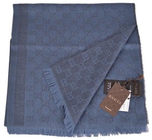 Gucci NEW Gucci Women's 359908 Wool Silk Blue Overdyed GG Guccissima Scarf Shawl