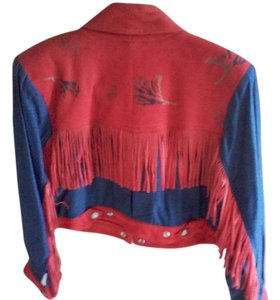 Char Santa Fe, USA red suede and leather and blue denim Leather Jacket