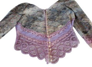 Professionally hand made Lavendar and pink with blue and beige brocade print Jacket