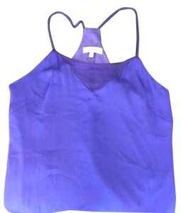 MILLY Racer-back Silk Top Blue