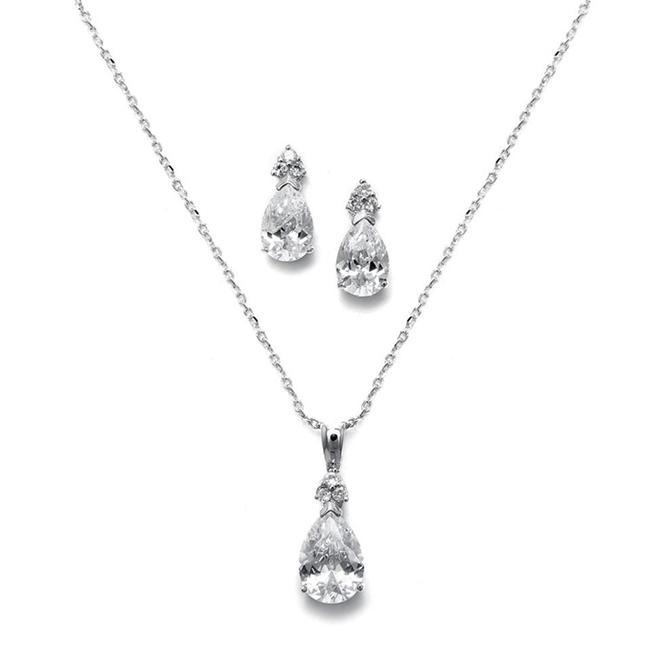 Item - Silver Bold Pear Solitaire Necklace and Earrings Set 2048s