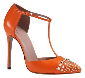 Gucci T-strap Pump 370801 Orange Pumps