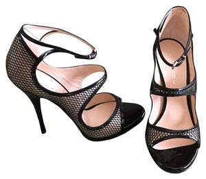Casadei Black and Nude fishnet Sandals