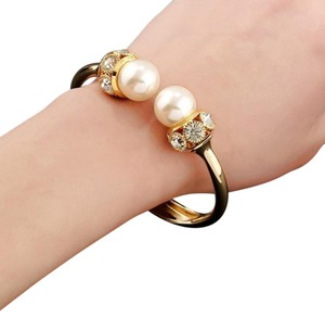 Double Faux Pearl Austrian Crystal Bangle