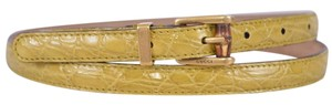 Gucci New Gucci Women's 339065 Yellow Alligator Skinny Bamboo Buckle Belt 38 95