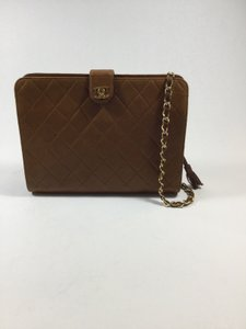 Chanel Quilted Vintage Gold Leather Shoulder Bag