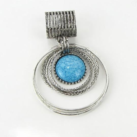 Silver/Blue Bogo Free Turquoise Scarf Charm Free Shipping Brooch/Pin