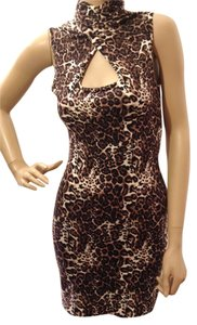 bebe Leopard Animal Print Sheath Dress