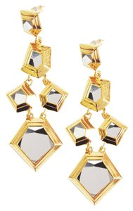 Lele Sadoughi Geometric Gold and Gunmetal Statement Earrings