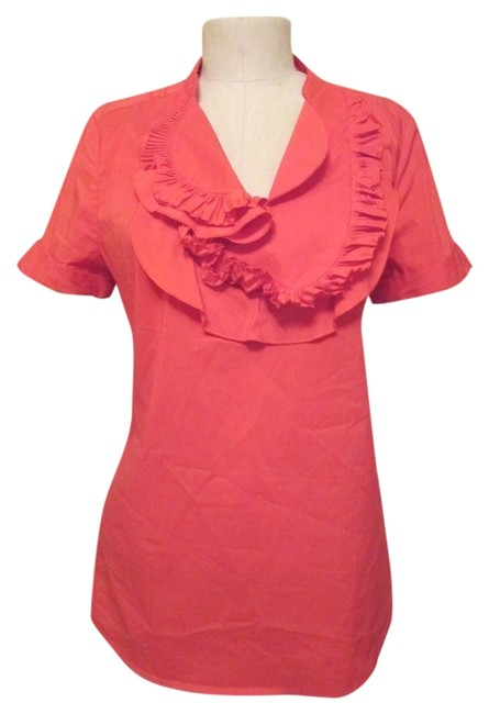 BCBGMAXAZRIA Ruffle Top Bright Poppy