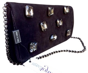 Carol Bags Suede Embelished Black Clutch