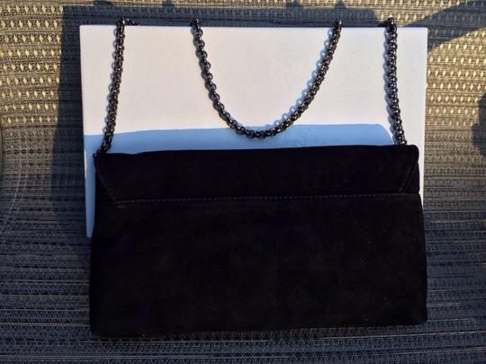 Carol Bags Suede Embelished Leather Made In Italy Black Clutch